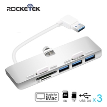 Rocketek Aluminum usb hab with 3 Port USB 3 0 Hub and Card Reader for SD