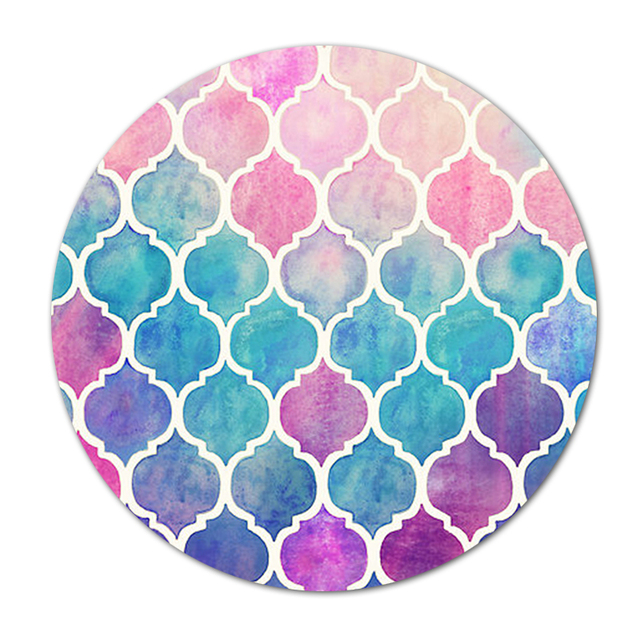 New Round Rubber Mousepad Rainbow Pastel Watercolor Moroccan Painting Mice Mat Pc Computer Gaming Speed Mouse Pad by Lotezly