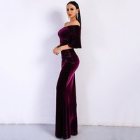 2018 Women Sexy Off Shoulder Female Velvet Dresses Solid Color Flare Sleeve Bodycon Elegant Maxi Party Dress