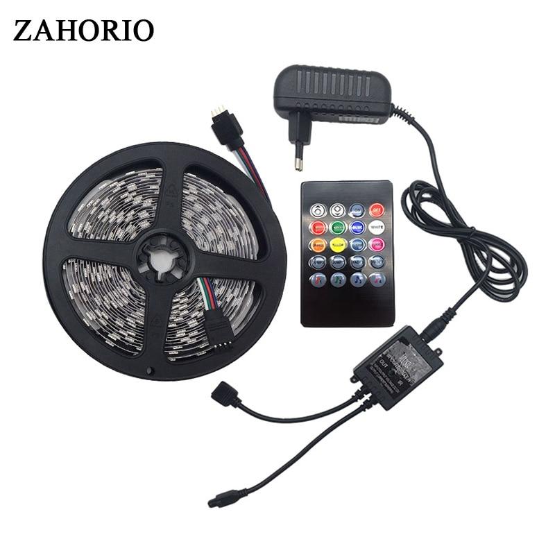 SMD 5050 Music synch RGB LED Strip light 5M 10M 60led/m Flexible ribbon tape lamp 20 key IR controller DC 12V adapter set string