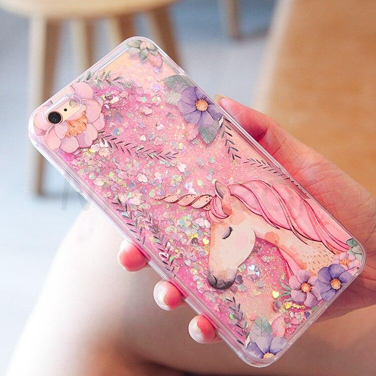 f274b611d0 Cute Cartoon Unicorn Liquid Quicksand Glitter Iphone 7 8 Plus Cover For  Iphone 6 6S X 10 Flamingos Coque Fundas