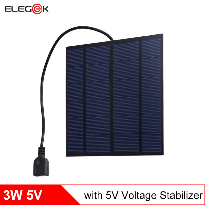 ELEGEEK 3W 5V 145*145mm USB Output Solar Panel Charger with 5V Stabilizer Polycrystalline PET Mini Solar Panel Cell for Phone
