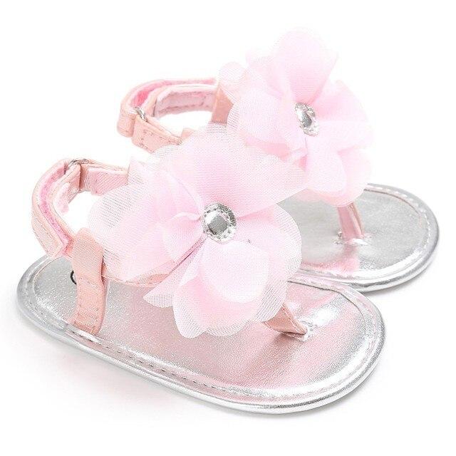 413e1241ae7bf Newborn Baby Sandals Princesses Infant Kids Girl Big Flower Cute PU Summer  Shoes Pink Yellow Black White