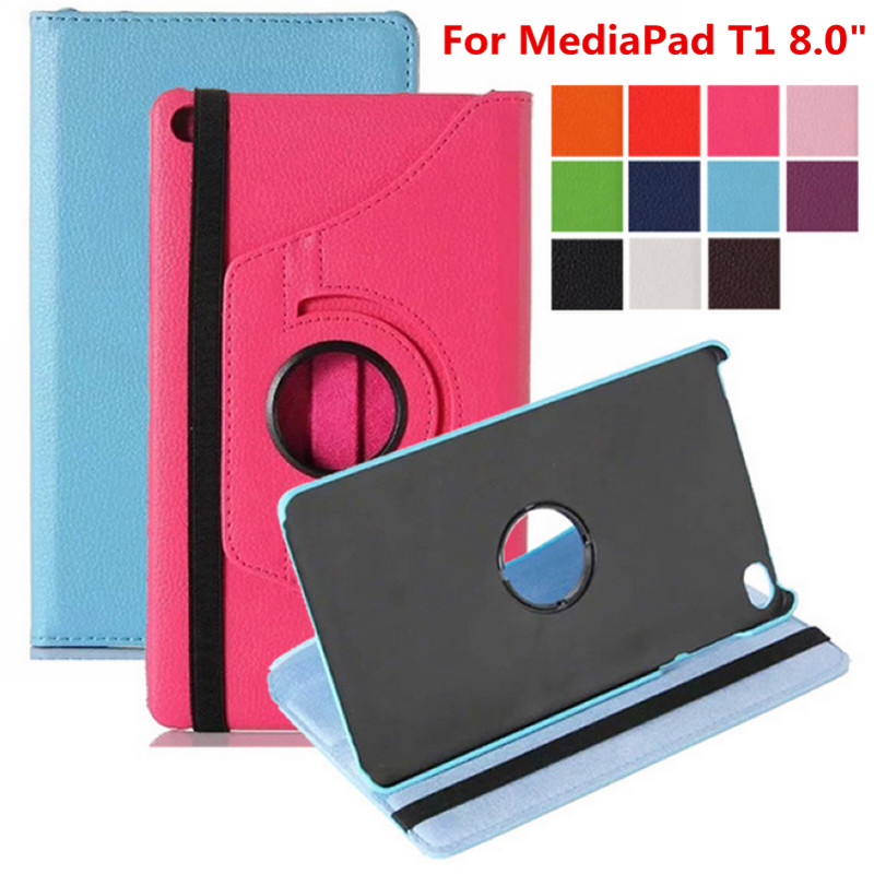 For Huawei MediaPad T1 8.0 inch T1-821W T1-821 T1-823L S8-701U S8-701W Tablet Case 360 Rotating Bracket Flip Stand Leather Cover for huawei mediapad m3 lite 8 0 inch cpn al00 m3lite tablet case 360 rotating bracket flip stand leather cover