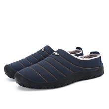 SAGUARO Winter Men Shoes Plush Men Slippers Fleece Warm Fur Thicken Cotton-Padded Home Slipper Indoor Flat Shoes Big Size 36-46