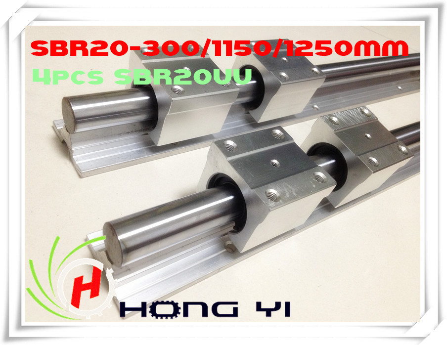 2 X SBR20 L=300/1150/1250mm Linear Rails+12 X SBR20UU straight-line motion block for SFU2005 Ball screw (can be cut any length) montblanc чехол для iphone 5