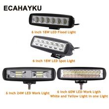 Купить с кэшбэком 1Pcs 2Pcs 6 inch 18w 24W 60W DRL LED Spot Flood Work Light Worklight work lights bar for Off Road Vehicle SUV car styling trucks
