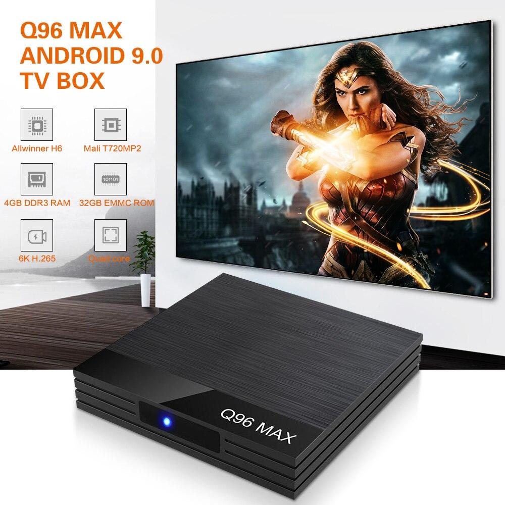 Q96 Max Smart TV Box Android 9.0 4GB RAM 32GB ROM Allwinner H6 Quad Core USB 3.0 2.4G WiFi Set Top Box 6K H.265 Media PlayerQ96 Max Smart TV Box Android 9.0 4GB RAM 32GB ROM Allwinner H6 Quad Core USB 3.0 2.4G WiFi Set Top Box 6K H.265 Media Player