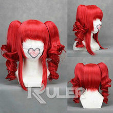 Wholesale heat resistant LY free shipping VOCALOID teto Red Anime Cosplay Party Wig HAIR 2Clip On
