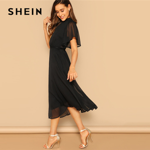 Image 3 - SHEIN Glamorous Black Mock neck Knot Back Sheer Panel Dress 2019 Spring A Line Butterfly Sleeve Stand Collar Elegant Dresses
