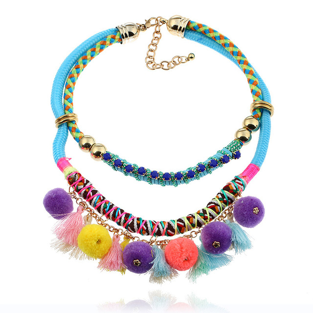 2017 New Boho Jewelry Hand Made Choker Necklaces For Women Sunny Beach Necklace Dress