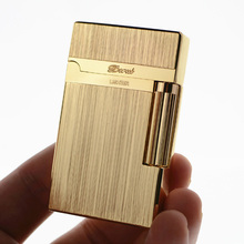 stDupont lighter Bussiness Tobacco Gas Lighter Brushed Metal PING Bright Sound Cigarette lighter Inflated No Gas With