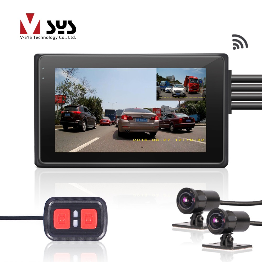 SYS VSYS M2F Pro WiFi Motorcycle Dash Cam DVR Dual HD 1080P Front Rear 170 Degree