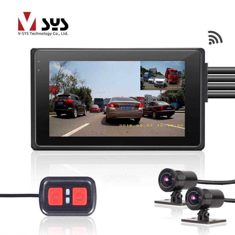 SYS VSYS M2F WiFi Dupla FHD 1080 P Motocicleta Traço Cam DVR 170 Graus Wide Angle Lens Parte Dianteira & Parte Traseira visão Câmara de Motocicleta