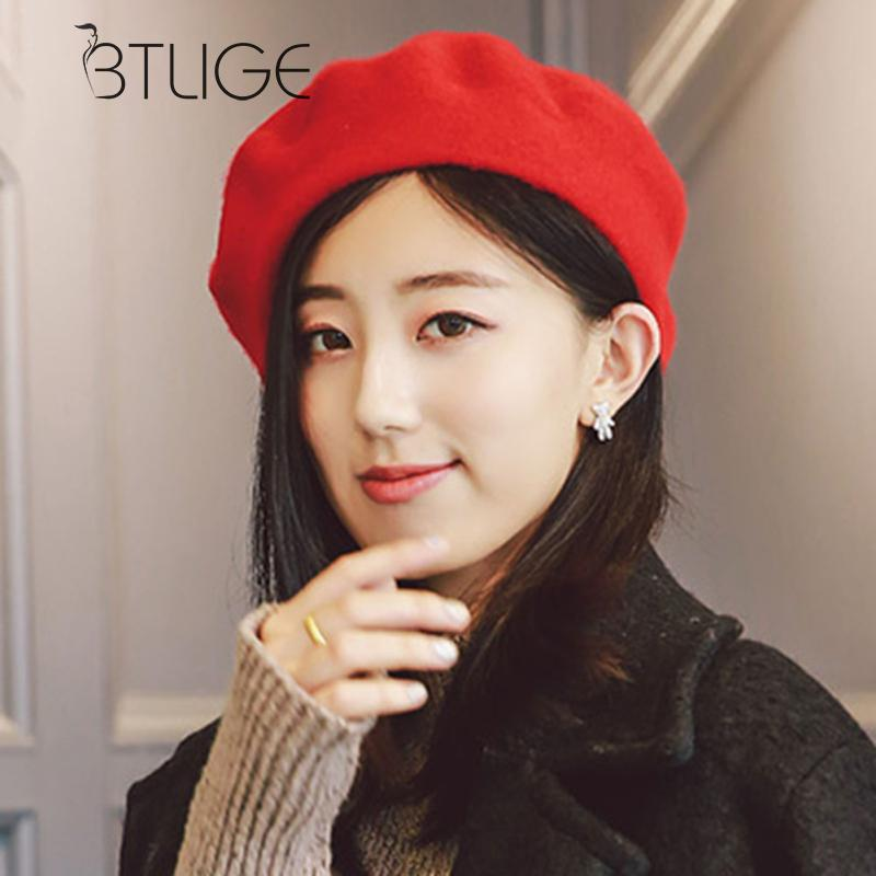 f424241674b BTLIGE Plain Beret Hat 100% Wool French Beret Winter Autumn Women Girls  Fashion Hats 6 Different Colors-in Berets from Apparel Accessories on  Aliexpress.com ...
