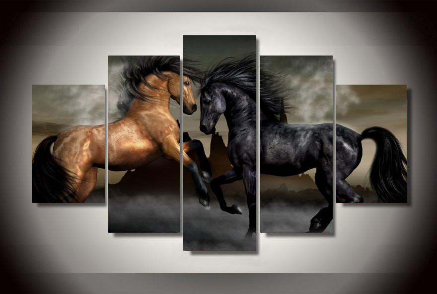 framed print horse painting modern home decor wall art canvas picture for living room decor print