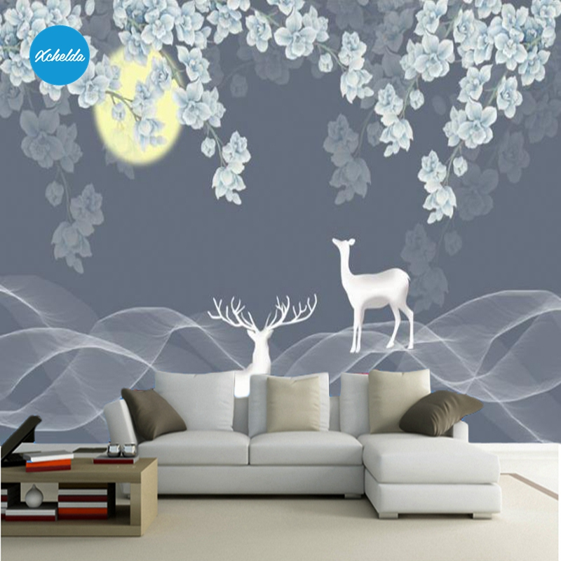 XCHELDA Custom 3D Wallpaper Design Moon and Deer Photo Kitchen Bedroom Living Room Wall Murals Papel De Parede Para Quarto xchelda custom modern luxury photo wall mural 3d wallpaper papel de parede living room tv backdrop wall paper of sakura photo
