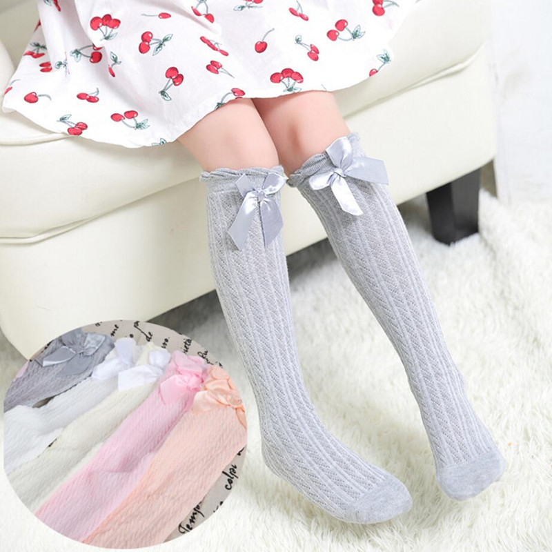 Summer New Design Girls Children Over Knee High Socks Breathable Lovely Bow Tie Thin Section Socks for Fashion Baby Girls Child