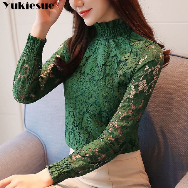 fashion woman blouses 2018 Spring summer Hollow Out Lace Women's tops Blouses Women blusas long sleeve Female shirt plus size 1