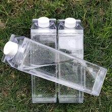 Garrafa de água de leite transparente, garrafa de água criativa à prova de vazamento para bebidas, passeio ao ar livre, acampamento, garrafas de água de leite para homens
