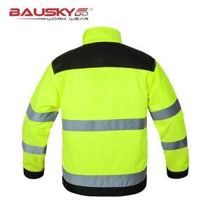 Image 4 - Bauskydd גבוהה נראות גברים חיצוני חולצות workwear רב כיסים בטיחות רעיוני עבודה מעיל משלוח חינם