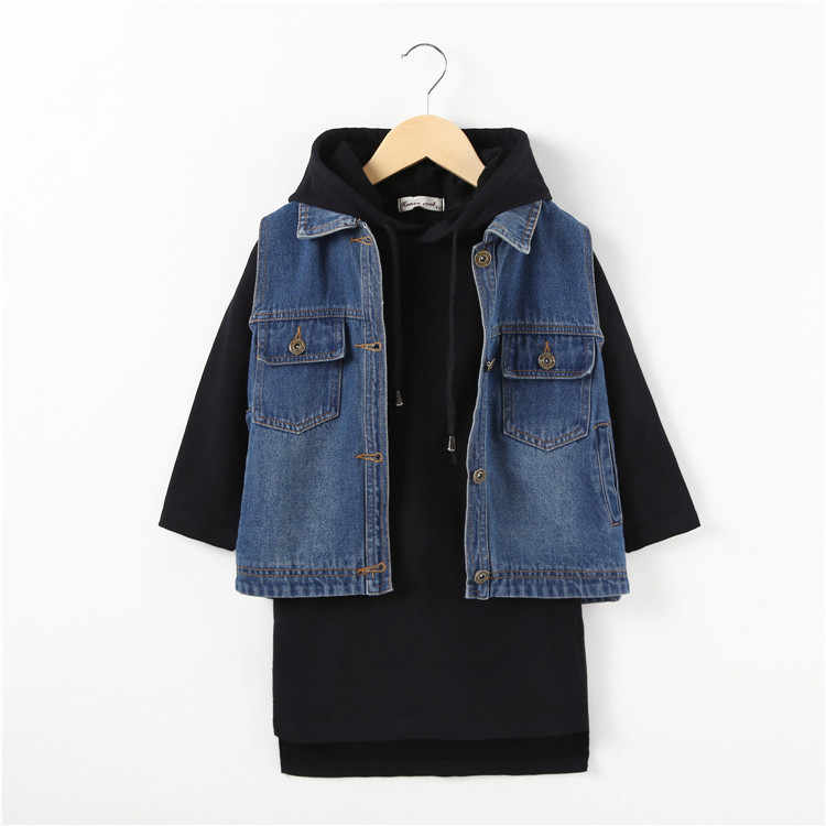 6b7bac86e8302 ZSIIBO Urban girl denim vest suit girls fashion sweater skirt hoodie  two-piece suit girls clothes 4-14Y girls party wear dress