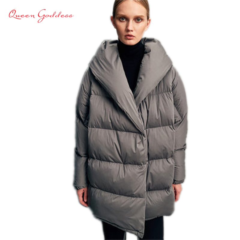 Parka New Brand European Style warm parkas Large Size womens   Down   Jackets Female Elegant and vintage White Duck   Down     Coat