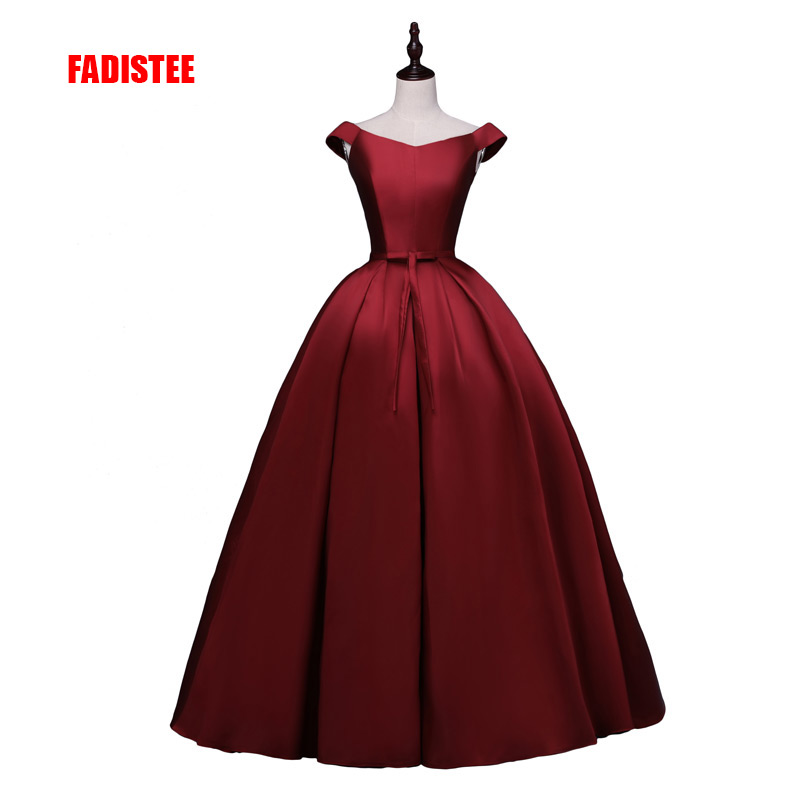 FADISTEE 2018 new arrive party   prom     dress   Vestido de Festa ball gown satin lace-up bow long style   dress