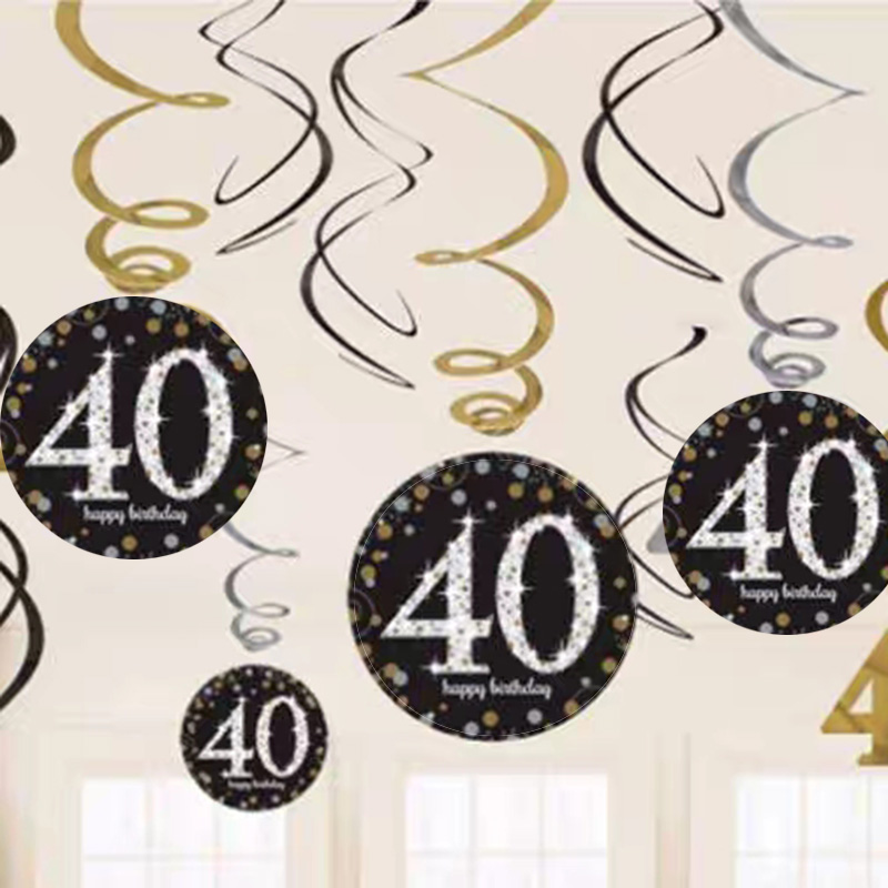 12pcs 40 Years Birthday Decoration Happy 18 21 30 50 60 70 Old Spiral Hanging Ornaments Decor