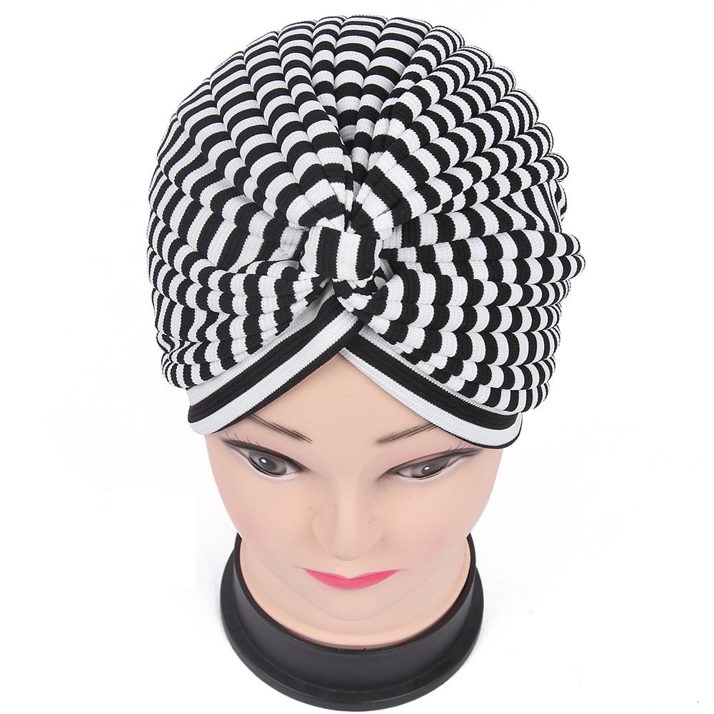 2018 New Winter Brand Ladies  Beige White Black Striped Muslim Turban Hats For Women