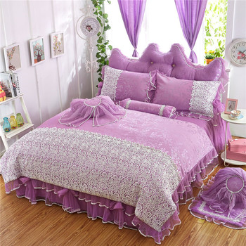 Jacquard Bedding Set 4/6Pieces Cotton Princess style High Quality Bedding Set Duvet Cover bedskirt Pillowcase Quilt