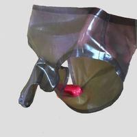 Transparent black Men Latex Rubber Shorts Penis Sheath Underwear Condom vibrating penis extender condom penis ring cock ring