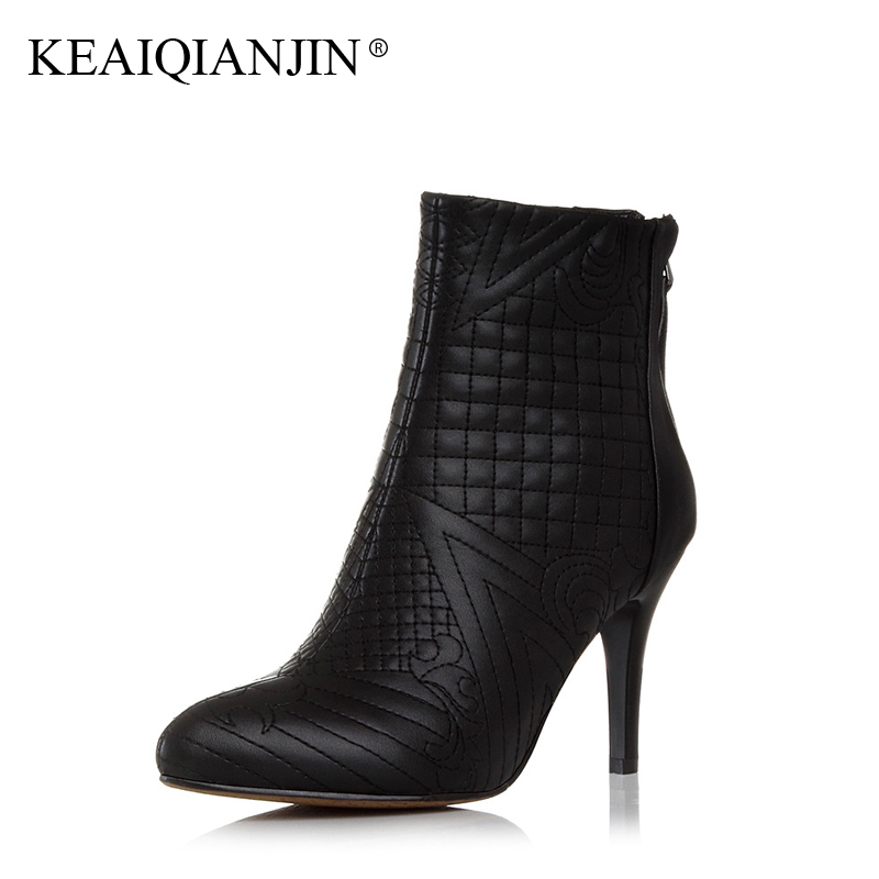 KEAIQIANJIN Woman Heel Boots Black Plus Size 33 - 42 Autumn Winter Pointed Toe Shoes Plush Fashion Genuine Leather Ankle Boots autumn winter cool fashion black leather and suede spike heel short boots charming woman pointed toe ankle boots concise design