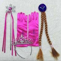 4Pcs Set Elsa Anna Princess Crown Magic Wand Braid Gloves Magic Wand Rhinestone Hair Crown Glove