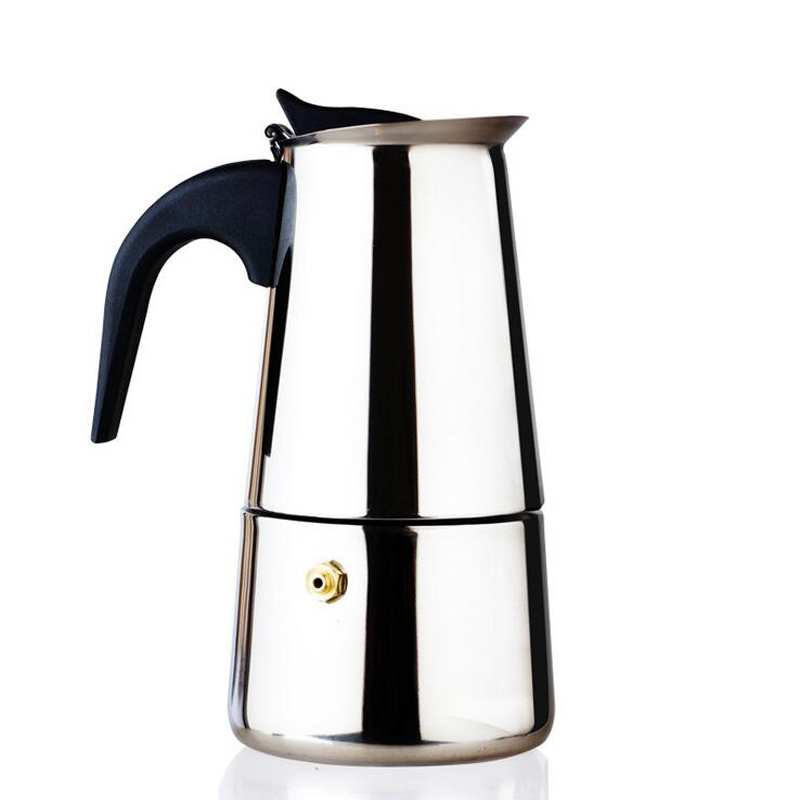 1 Pc 200 Ml Stainless Steel Moka Pot 4 Cups Espresso Maker Kitchen Dining Bar Coffee Gas Cooker Percolators Cooking Tools
