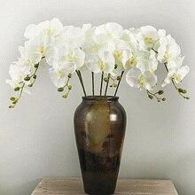 الحرير الاصطناعي الأبيض زهور أوركيد عالية الجودة فراشة العثة فالاينوبسيس ورد صناعي لحفلات الزفاف مهرجان المنزل الديكور