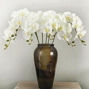 Image 1 - Artificial de seda branco orquídea flores borboleta alta qualidade traça phalaenopsis falso flor para casamento decoração do festival casa