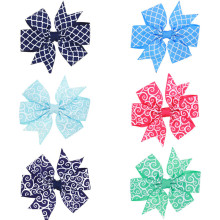 "3.3"" Grosgrain Hair Ribbon Bows dot Hair Clips Boutique Girls big Bow  hairpins Girls' Hair Accessories WW-HC073"