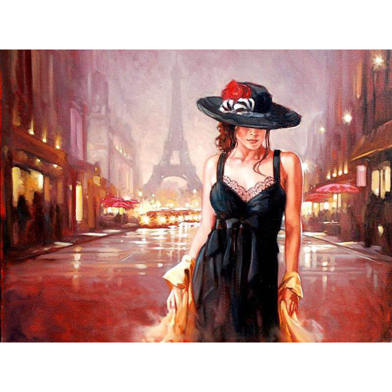 Painting By Numbers DIY Dropshipping 40x50 60x75cm <font><b>Paris</b></font> street fashion women Figure Canvas Wedding Decoration Art picture Gift image
