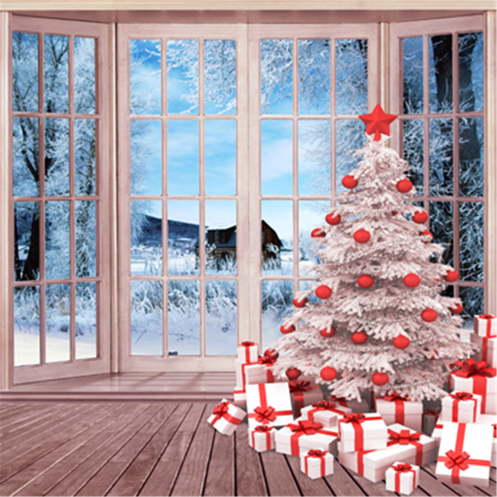 Window Christmas Photography Backdrops Printed Xmas Tree Gift Boxes Beautiful Winter Snow View ...