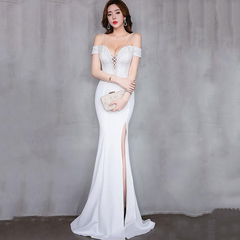 Белый Бисер крест v-образным вырезом Спагетти ремень с плеча открытым Разделение сексуальное платье с русалочкой для Свадебная вечеринка Д...