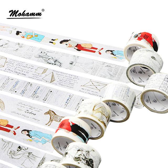 Creativo recta una serie de estudiantes cinta adhesiva decorativa Masking Washi cinta DIY Scrapbooking pegatina etiqueta Kawaii papelería