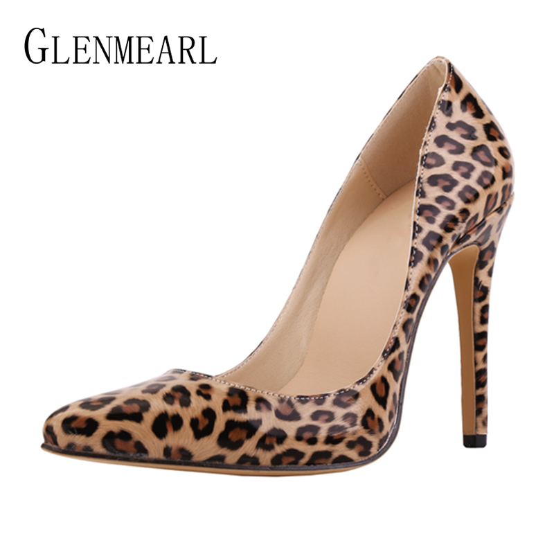 Women Pumps Leopard Shoes High Heels Sexy Pointed Toe Wedding Shoes Woman Stiletto Heel Office Lady Dress Shoes Casual Evening cocoafoal woman green high heels shoes plus size 33 43 sexy stiletto red wedding shoes genuine leather pointed toe pumps 2018