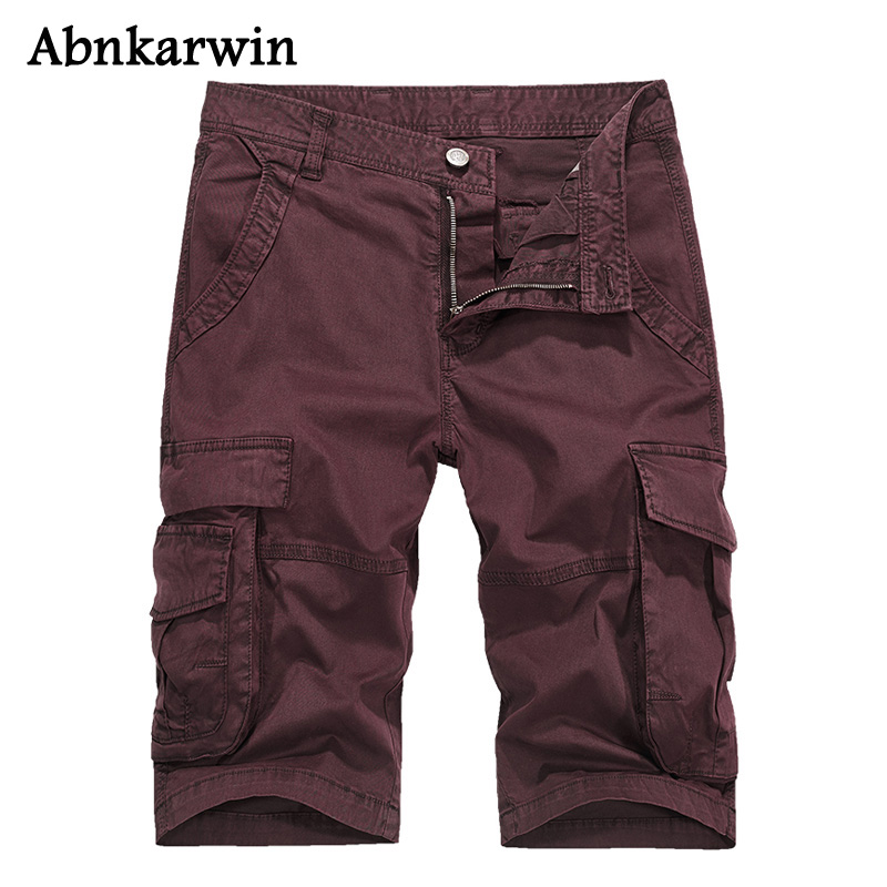 Abnkarwin Summer Military Shorts Cargo Men High Quality Army Military Solid Cotton Multi-Pockets Male Casual Mens Short Trousers