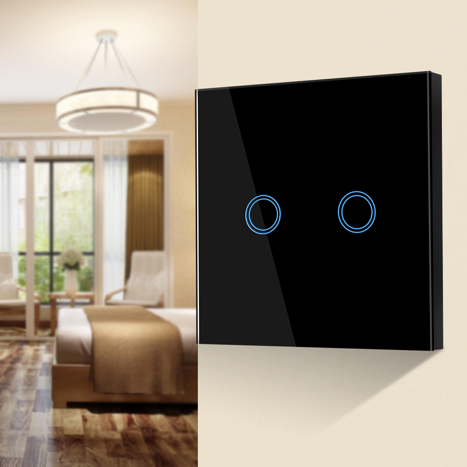 1/2/3 Gang 220V LED Touch Switch LED Light Switch Wall Touch Glass Control Panel Module EU UK Standard LED Lamp Switch