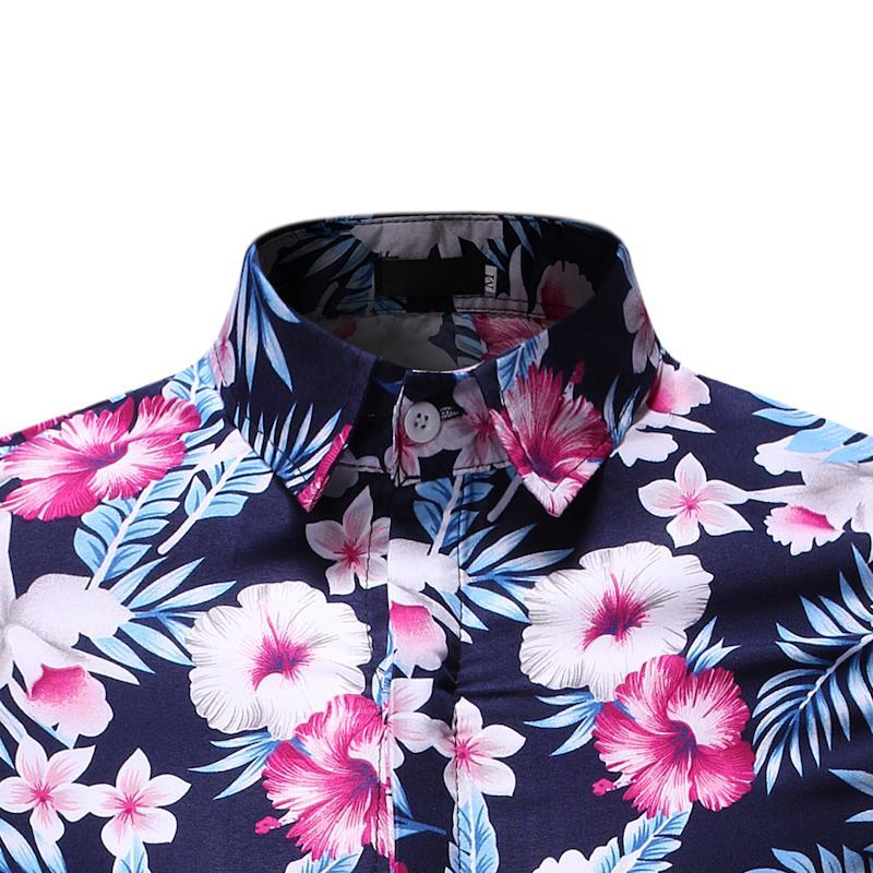 Hawaiian Style Summer Dress Shirt Men Flower Short Sleeve Social Shirt For Men Casual Floral Blouse Men