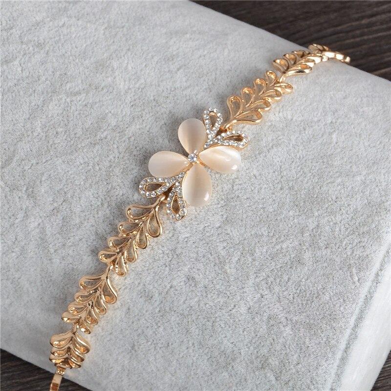 Handmade Opal Cat Eye Stone Charm Bracelets Heart Shaped Gold ...