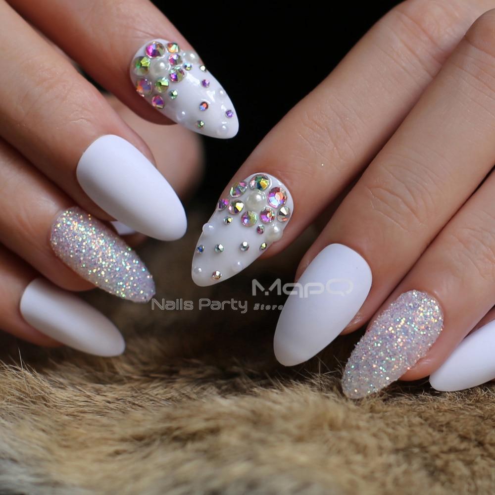 24pcs white Medium stiletto nails matte false nails Design ...