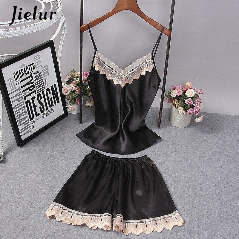 Jielur шелковый атлас пижамный комплект кружево лоскутное для женщин топики женские топ и шорты Без Рукавов Белье пикантные пижамы ночное купить на AliExpress