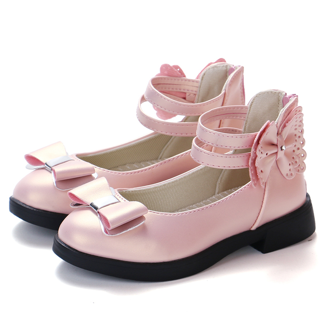 2018 New Princess Gold Shoes Girls For Party And Wedding Little Girls  Flower Bow Dress Shoes For Kids School Shoes Leather Child 3e51e3742f1e